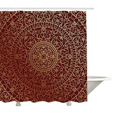 Yeuss Kastanienbrauner Duschvorhang, antike arabische Kunstwerke,orientalische Mandala-inspirierte r&e Verzierung,marokkanische Ethnie,Badezimmer-Dekorset aus Stoff mit Haken,goldkastanienbraun