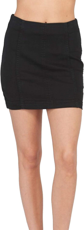 Wishlist Women's Cotton Sateen Mini Skirt-Black-Large