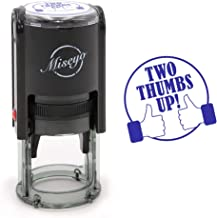Two Thumbs Up Like - Miseyo Self-Inking Round Rubber Teacher Stamp - Blue Ink