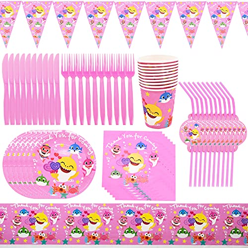 Babioms 81pcs Shark Party Supplies Set, Hai Kinder Geburtstagsdekoration, Hai Party Dekoration, Kinder Karneval Party Dekorationen, Kinder Party Dekoration