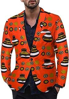 ZODOF Chaqueta de Traje para Hombre - Traje para Hombre Moderno Vestido Estampado étnico Vintage para Hombre con Traje Floral y Chaqueta Ajustada Tipo Blazer(rojo,XXL)