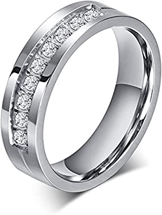 (Size 5) - Chryssa 6mm Titanium Steel Carbide Ring with Brilliant CZ Diamonds Mens Wedding Band 5 to 12(SZZ-08) (Size 5)