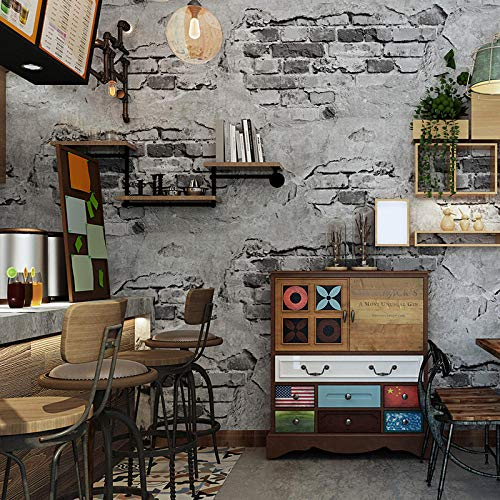 Brick Wall Paper Modern Retro Grey Cement Brick PVC Wallpaper Roll For Walls 3D-Restaurant Cafe Bedroom Background Wall Covering