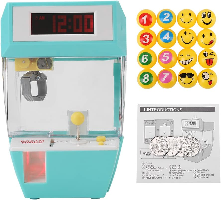4 Toy Coins 16 Balls Green Pokerty Mini Claw Machine 2 in 1 Toy Claw Machine LCD Alarm Clock Mini Candies Toys Prize Dispenser Game with Sound