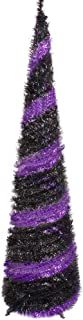 MACTING 5ft Pop up Christmas Tinsel Tree with Stand Easy-Assembly Tinsel Coastal Glittery Halloween Christmas Tree for Holiday Xmas Decorations (Purple-Black)