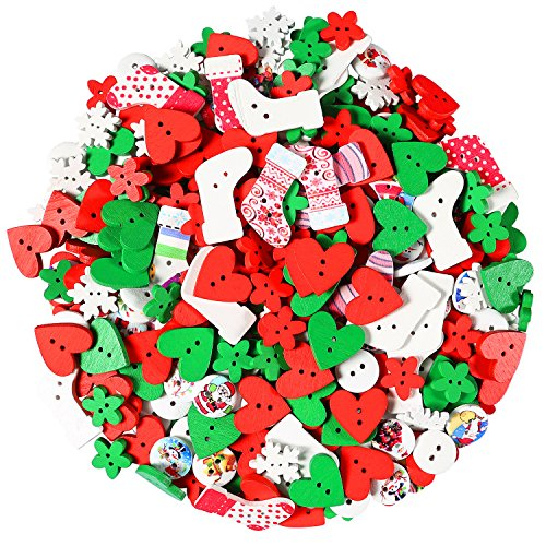 Aneco 400 Pieces Christmas Wooden Buttons Sewing Button for DIY Scrapbooking or Craft Decoration, Christmas Color, Mixed Size and Style