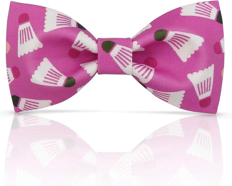 33b354c3e Lanzonia Men's Men's Men's Pink badminton Print Bow tie 71b545 ...