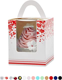 Yotruth Valentines Heart Cupcake Boxes Pink 25 Sets Easy Assembly with Insert (Choice Series)