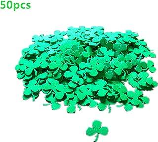 WINZIK St. Patrick's Day Green Shamrock Clover Stickers Foam Self-Stick Face Decoration Irish Festive Party Favors Supplies, Pack of 50Pcs
