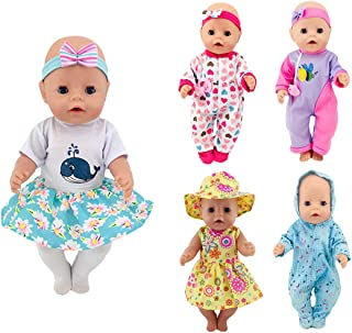 XADP 5 Pack Doll Clothes with Hat and Hair Bands for 17 Inch New Born Baby Dolls and 15 Inch Bitty Baby Dolls,Set of 5