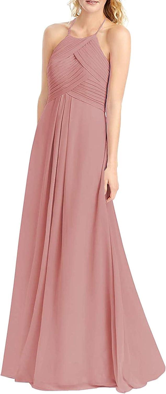 PrettyTatum Women's Halter Bridesmaid Dresses Formal Ranking Quantity limited TOP13 Prom Long G