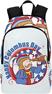 Cartoon Man Telescope Columbus Day Graphic Casual Daypack Travel Bag College School Backpack for Mens and Women