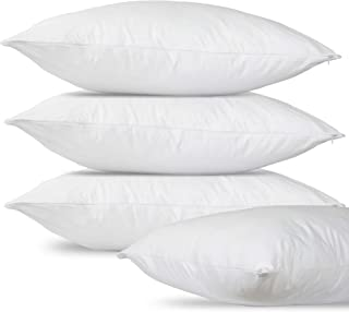 AAMINA'S Pillow Protector Pack of 4 with Zip Closure -100% Cotton Fabric Mildew Proof - Machine Washable