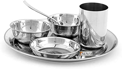 Prisha India Craft Stainless Steel Thali Set | Dinner Plates Thali Set | Thali Diameter 10.00 Inch |6 Pieces - 1 Thali, 2 Bowl, 1 Pudding Plate/Halwa Plate, 1 Glass, 1 Spoon