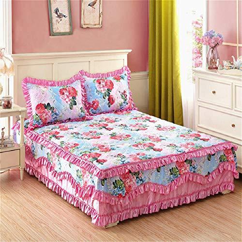 Amswsi Verdickte Baumwolle Seite 1,8 m Baumwolle Tagesdecke Matratze rutschfeste Schutzhülle-atemberaubende Schönheitspuder_2,2 * 2,4 einzelne Bettbezug