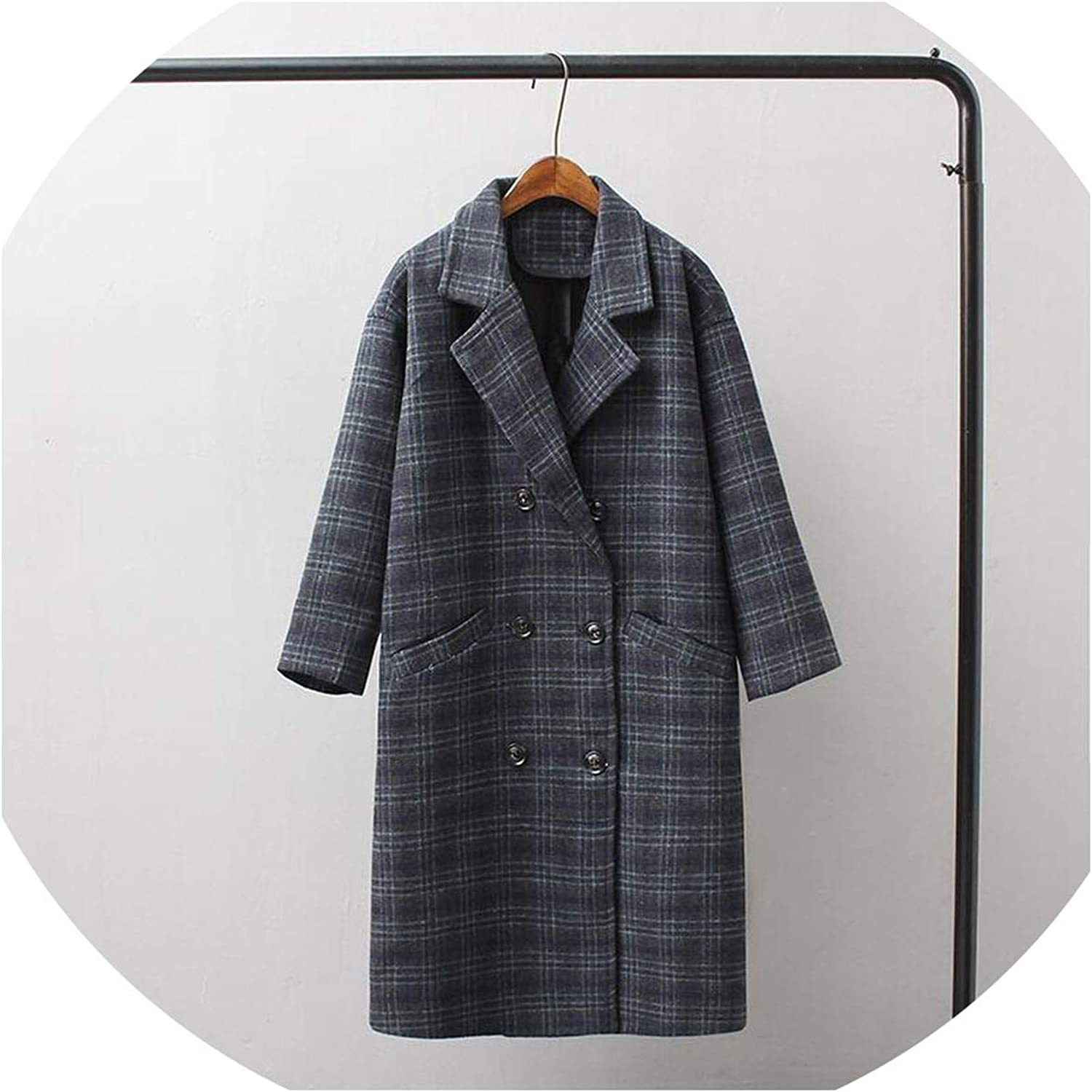 colorfulspace Autumn and Winter Women's Coat Casual Plaid DoubleBreasted Long Coat