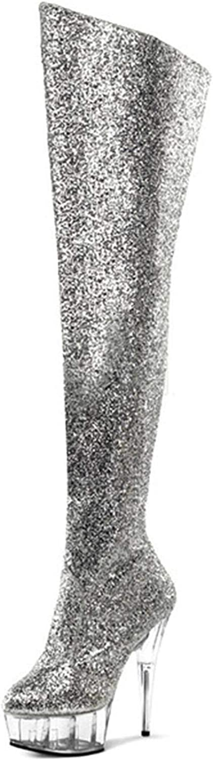 Women's sequins cloth thigh high boots sexy ultra high heels party dance