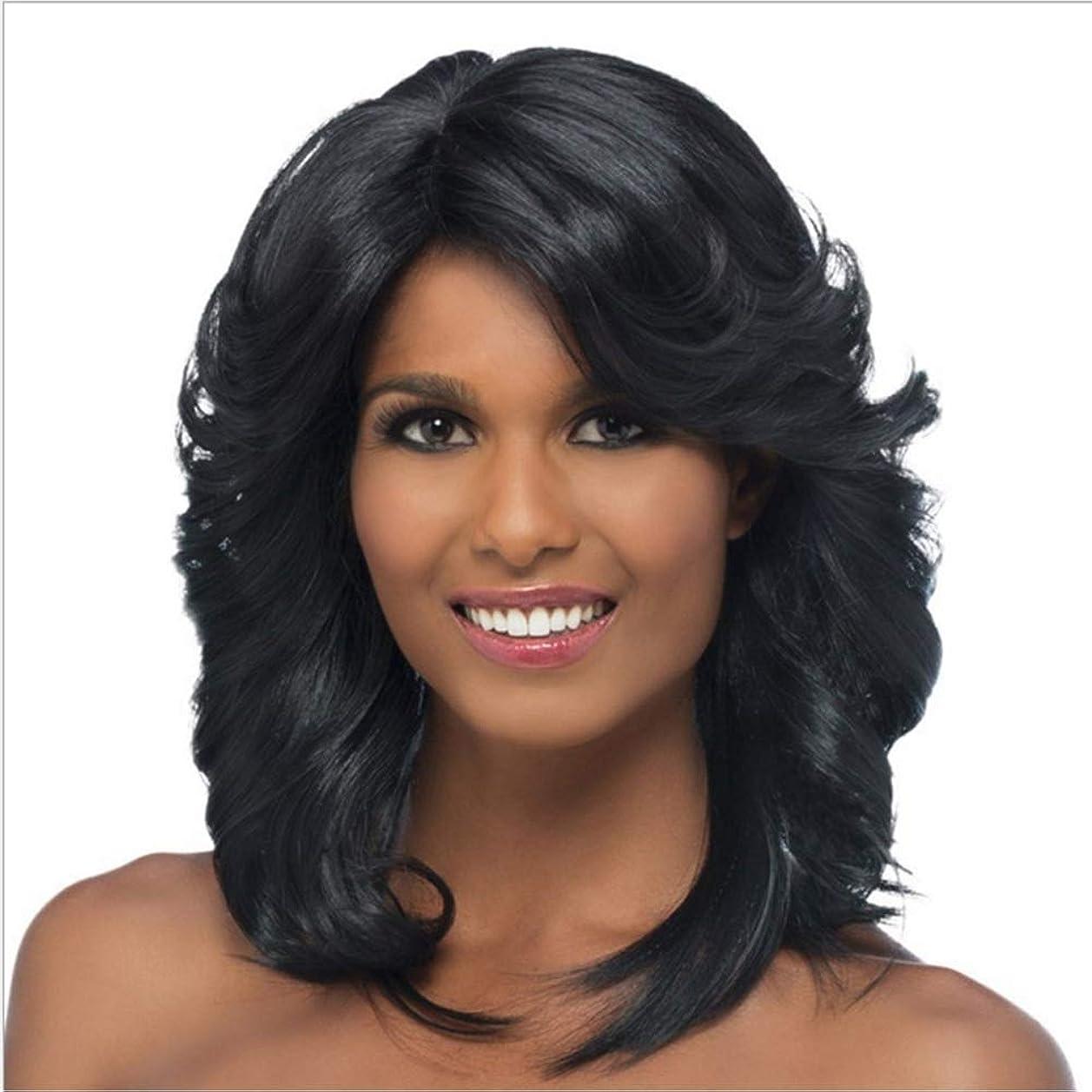 豊富な優先コンドームYrattary 女性の日常のパーティーのための人工毛黒巻き毛の肩の長さのかつら (色 : 黒)