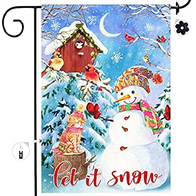 Amazon - Save 80%: Bonsai Tree Winter Garden Flag, Christmas Snowman Tree Double Sided Burlap…