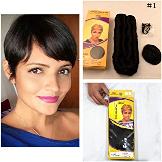 Hair Extension 27 Pieces Bump Weave Hair With Closure Short, 1# Black Color Hair Peerless Virgin Peruvian Human Hair Short Weave Human Brazilian Hair Women Multi-Layered Single Weft Natural Hair