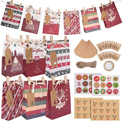 GIKPAL 24 Bolsas de Regalo para Navidad, Bolsas de Papel Kraft con Pegatinas y Etiquetas, Calendario de Adviento para Caramelos Galletas Bombones, 22x15x6 cm