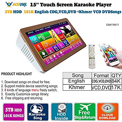 5TB HDD 101K,Khmer VCD, DVD Songs,Cambodian,English,CDG,VCD,DVD Songs, 15.6''All in one Touch Screen Karaoke Player,Select Songs Both Via Monitor and Mobile Device, Muiltilingual Menu and Songs Titl
