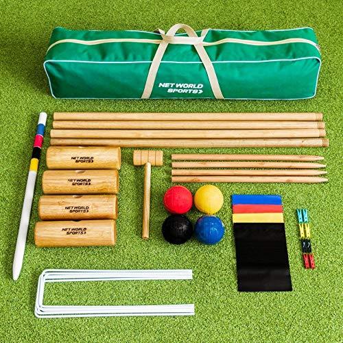 Juego de Croquet │ Sets Tradicionales para el Jardín │Juego de Croquet para Niños y Adultos (Henbury) | Kit de Croquet de Madera para Toda la Familia