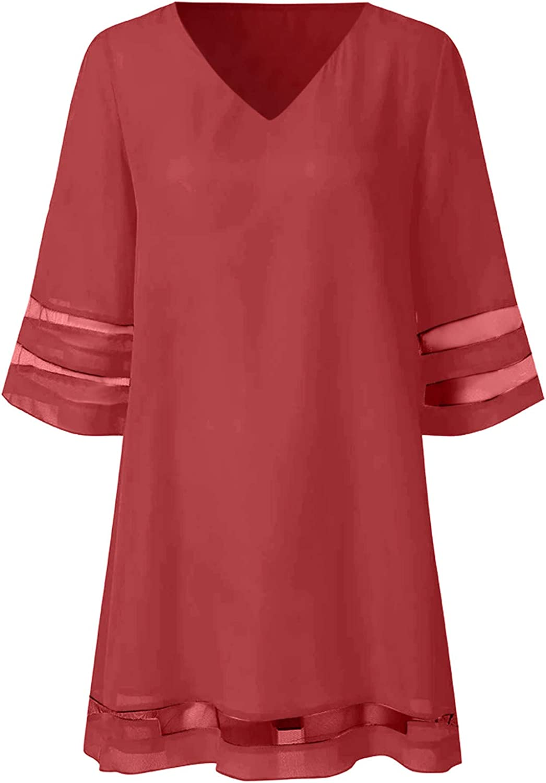 Dress for Women Casual Crewneck Mesh Panel 3/4 Bell Sleeve Loose Tunic Dress Casual Short Mini Dress