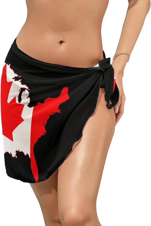 JINJUELS Women Beach Wrap Skirt Chiffon Sarong Pareo Swimsuit Bikini Cover Ups Flag Map of Canada