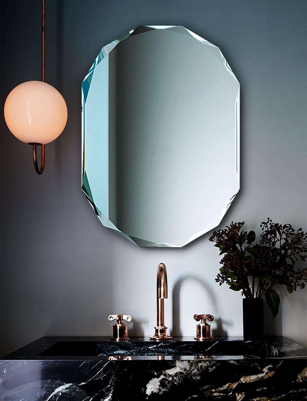 Buy Frameless Bathroom Mirror For Wall 20 X 28 Diamond Edge Frameless Mirror For Bathroom Rectangle Online In Germany B08y85b5qw