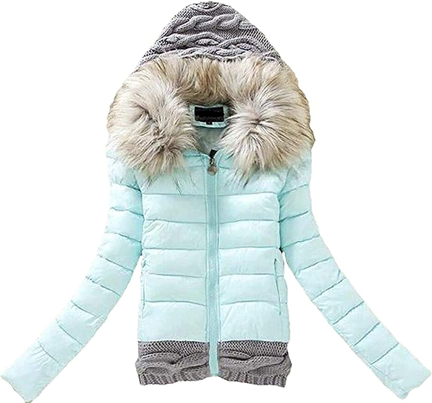 GHJX Women's Coat Fashion Hooded Padded Quilted Slim Zip-Up Patchwork Down Jacket