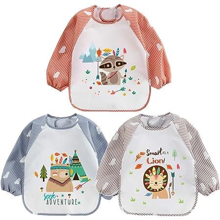 ElecMotive 3pcs Babero Impermeable Infantil para Pintar con Mangas Largas de Bebé Niños Niñas 6-36 Meses