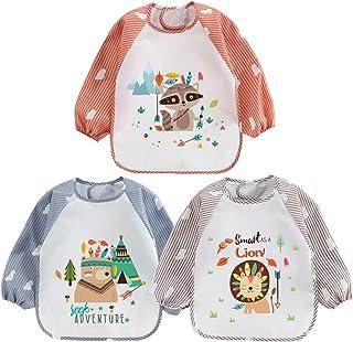 HaimoBurg 3pcs Set Baby Toddler Kids Waterproof Long Sleeve Bibs Apron Feeding Smock