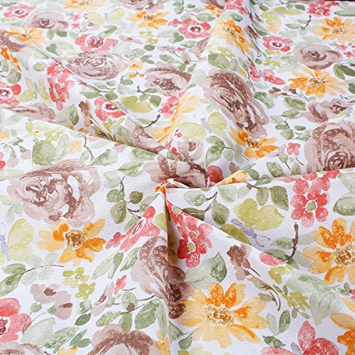 SaRani - Tela al corte de 280 x 280 cm, mezcla de algodón, para tapicería, estampado de flores marrones