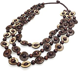 Bohemian Coconut Shell Wood Bead Necklaces Women Ethnic Jewelry Handmade Beaded Long Necklace