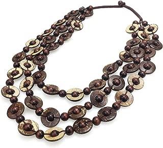MANILAI Bohemian Coconut Shell Wood Bead Necklaces Women Ethnic Jewelry Handmade Beaded Long Necklace