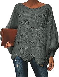Shallood Maglione Donna Felpa Ragazza Sweatshirt Oversize Pullover Invernali Primavera Manica Lunga Casual Moda Asimmetric...