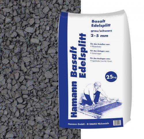Hamann Mercatus GmbH Basalt Edelsplitt Anthrazit 2-5 mm 25 kg Sack - Zur dekorativen, kreativen und individuellen Gartengestaltung
