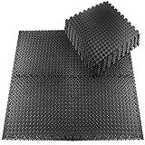 Schutzmatten Set 20 Stück 30x30cm Fitnessmatten Bodenschutzmatten für den Bodenschutz gegen Stöße, Dellen, Flüssigkeiten, Kälte zum Einsatz im Sportraum, Fitnessraum (Schwarzgrau)