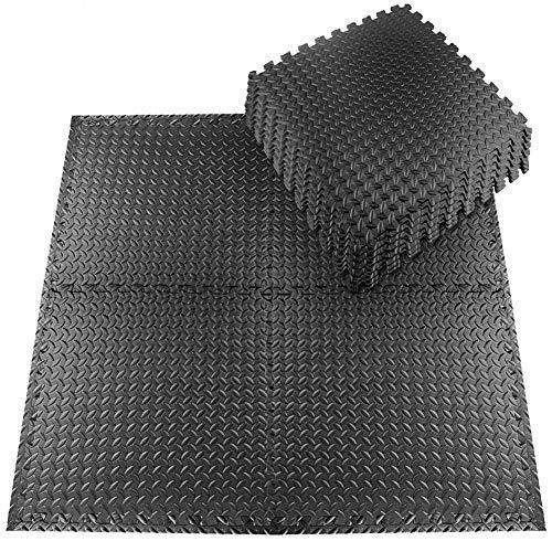StillCool Tappeto da Fitness a Puzzle – Set di 20 Pezzi 30 * 30 cm | Superficie di Protezione per Pavimenti | materassino per Palestra, Workout, Ginnastica | Tappetino Facile da Pulire (Nero-1)