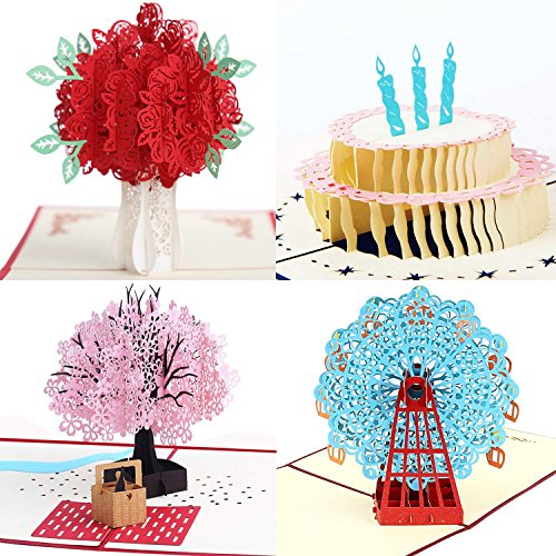 3D Pop Up Greeting Cards 4 Pack Assortment By Aloha Cards | For Birthdays, Thank Yous, All Occasions...