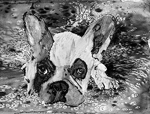 Grey French Bulldog Art , Frenchie Painting Wall Art, Black and White French Bulldog Owner Gift, Frenchie Mom Dog Artwork, French Bulldog Gift. Dog Portrait Art Print
