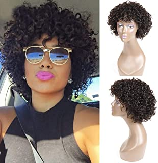 UDU Short Curly Human Hair Wigs for Black Women, Brazilian Deep Wave None Lace Front Wig Cheap Wigs with Bangs Deep Curly Wigs (deep curly wig)