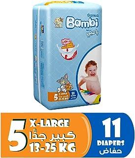 Sanita Bambi Baby Diapers Regular Pack Size 5, X-Large, 13-25 KG, 11 Count