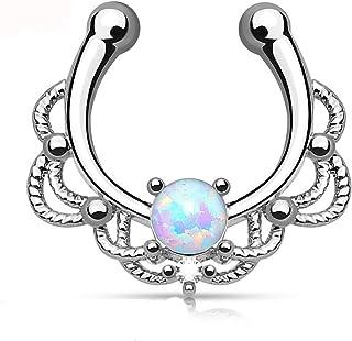 Finto piercing septum (naso) in ottone argentato e opale sintetica, a clip