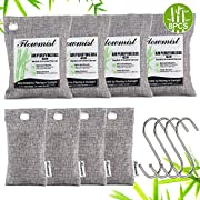 Air Purifying Bags 8 Pack (200g x 4,50g x 4) & 4 Hooks,Activated Bamboo Charcoal Purifer Odor Absorber,Natural Air Freshener Moisture Eliminator Deodorizer for Home,Car,Pets,Closet,Shoes,Gym Bag