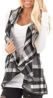 Women Color Block Lapel Open Front Sleeveless Plaid Vest Cardigan with Pockets