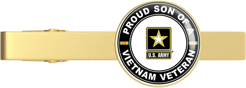 HOF Trading Gold U.S. Army Proud Son of a Vietnam Veteran Gold Tie Clip Tie Bar Veteran Gift