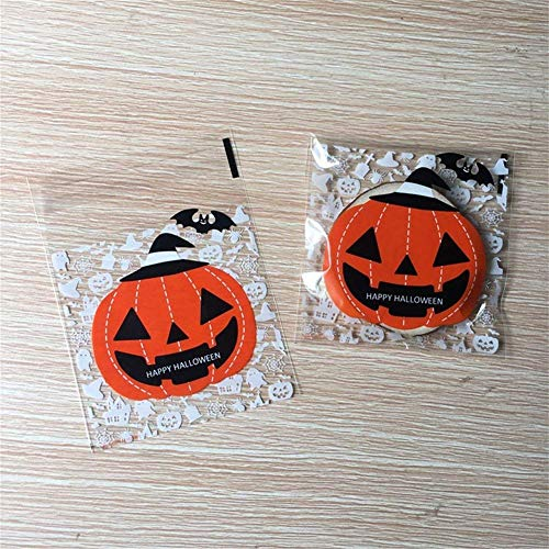 Kakasogo Cute 100 Pcs Plastic Halloween Pumpkin Theme Self-Adhesive Cookie Candy Soap Biscuits Packaging Bags Christmas Birthday Wedding Party Gift Set Paper Craft Cello Cellophane WrapBags
