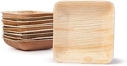Preisvergleich für BIOZOYG Snack Schälchen Set I 25 Bio Einweg Schalen quadratisch 80ml, 8x8cm I Partygeschirr kompostierbar, biologisch abbaubar I Palmblätter Einweg-Geschirr für Fingerfood Dips Verkostung Buffet